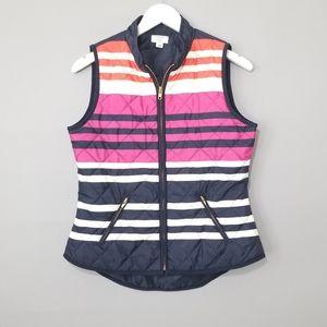 Crown & Ivy Color Block Quilted Front Zip Vest PM